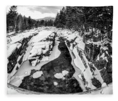 Fisheye View, Rocky Gorge Nh Fleece Blanket