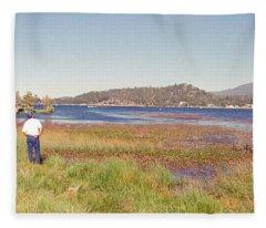 Fishing At Big Bear Fleece Blanket