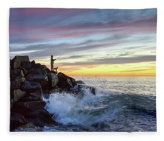 Fishing At Sunset Fleece Blanket