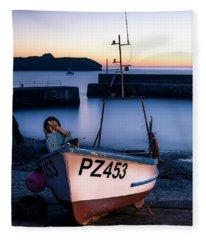 Fishing Boat In Mullion Cove Fleece Blanket