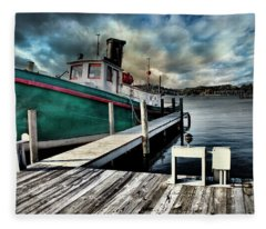 Fishing Boat In Saugatuck Fleece Blanket