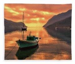 Fishing Boats At Sunset Simi Greek Islands-dwp40406001 Fleece Blanket