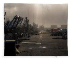 Fishing Boats Moored In The Harbor Fleece Blanket