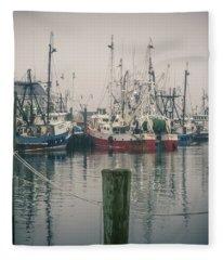 Fishing Boats Fleece Blanket