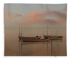 Fishing Boats Resting At Dusk Fleece Blanket