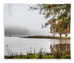 Fishing In The Fog - Color Fleece Blanket