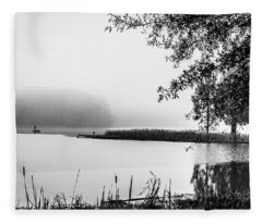 Fishing In The Fog II Fleece Blanket