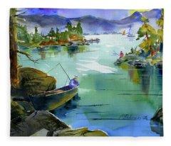 Fishing Lake Tahoe Fleece Blanket
