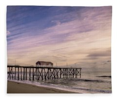 Fishing Pier Sunrise Fleece Blanket