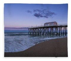 Fleece Blanket featuring the photograph Fishing Pier Sunset by Steve Stanger