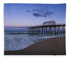 Fishing Pier Sunset Fleece Blanket