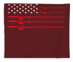 Fishing Rod T Shirt American Usa Flag - Fisherman Gift Idea Fleece Blanket