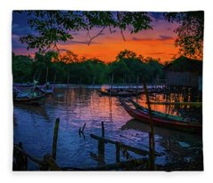 Fishing Village At Sunrise Fleece Blanket