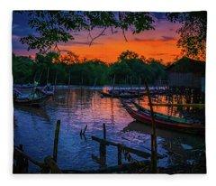 Fishing Village At Sunrise Fleece Blanket