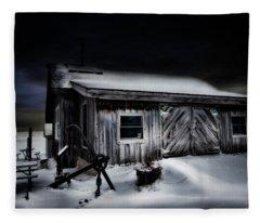 Fishtown At Night Michigan Fleece Blanket