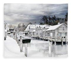 Fishtown Michigan In February Fleece Blanket