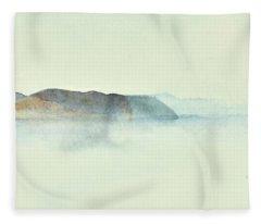 Fiske I Morgondis Hunnebo Vaestkusten  Fishing In Morninghaze Hunnebo, Swedish Archipelago76x73 Cm Fleece Blanket