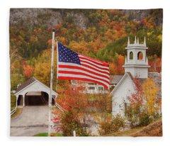 Flag Flying Over The Stark Covered Bridge Fleece Blanket