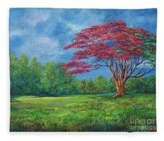 Flame Tree Fleece Blanket
