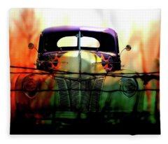 Flamed And Barbed Vintage Car Fleece Blanket