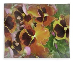 Fleece Blanket featuring the mixed media Flaming Pansies 9  by Lynda Lehmann