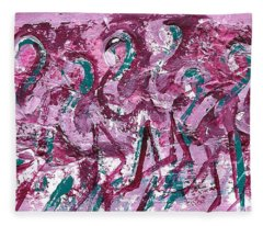 Fleece Blanket featuring the painting Flamingo Expression by Jocelyn Friis