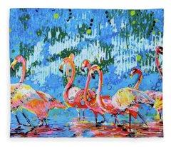 Flamingo Pat Party Fleece Blanket