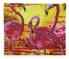 Flamingo Sunset Fleece Blanket