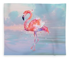 Flamingo Wading Fleece Blanket