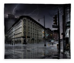 Flat Iron Building Grand Rapids Fleece Blanket