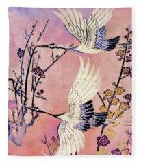 Flight Of The Cranes - Kimono Series Fleece Blanket