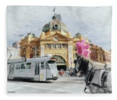 Flinders Street Station, Melbourne Fleece Blanket