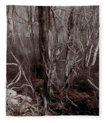 Floodplain Forest Vines In Sepia Fleece Blanket
