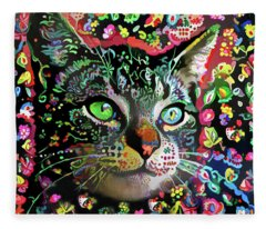 Flora The Tabby Cat Fleece Blanket