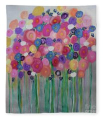 Floral Balloon Bouquet Fleece Blanket