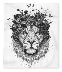 Floral Lion Fleece Blanket