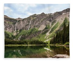 Floral Park Falls Monument Falls Avalanche Basin Falls Across Avalanche Lake Glacier National Park Fleece Blanket