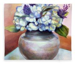 Floral Still Life With Hydrangeas Fleece Blanket