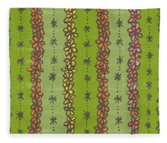 Floral Stripes Pattern Fleece Blanket