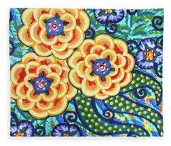 Floral Whimsy 9 Fleece Blanket