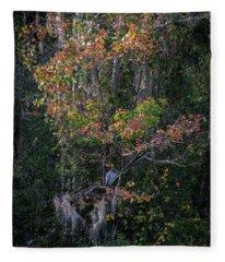 Florida Heron In Red Maple Fleece Blanket