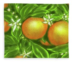 Florida Oranges Fleece Blanket