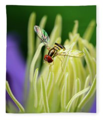 Flower Fly On Clematis Stamens Fleece Blanket