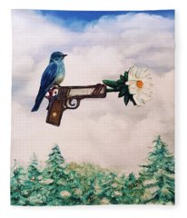 Flower In A Gun- Bluebird Of Happiness Fleece Blanket