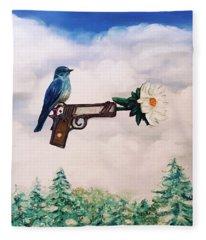 Flower In A Gun- Bluebird Of Happiness Fleece Blanket