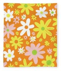 Flower Power Pattern Fleece Blanket