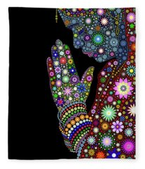 Flower Prayer Girl Fleece Blanket