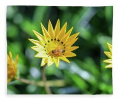 Yellow Flowers And A Bee Fleece Blanket