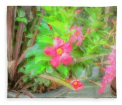 Flowers And Flag On Summer Deck Fleece Blanket