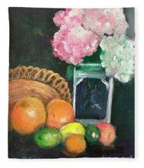 Flowers And Fruit Still Life Fleece Blanket